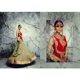 Red Mehendi Color Semi Georgette with Pure Velvet & Rasal Net Lehanga Choli