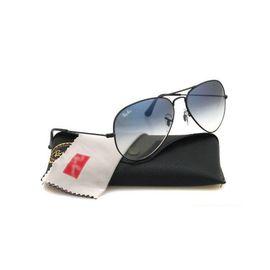 RayBan Black Frame Blue Shaded Stylish Aviator 100% UV Protector Sunglasses