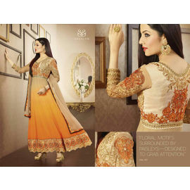 Sherlyn Celina jaitley Floral Motifs sorrounded by paisleys on Yellow Orange Shade Dress material Anarkali