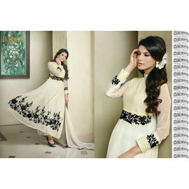 Kiaara Designer Elegant Black and white Georgette Semi stitched Dress material with Dupatta lowest