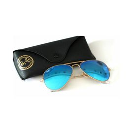 RayBan Aqua Blue Mirror Golden Framed Aviator Sunglasses