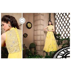 Designer Anarkali Suit yellow and off white