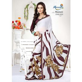 Meerashri Mastani White Printed Flower Saree with blouse weightless