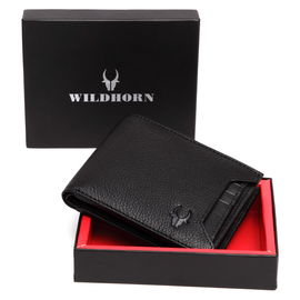 WildHorn Black Genuine Leather Wallet for men_ Handmade wallet for men