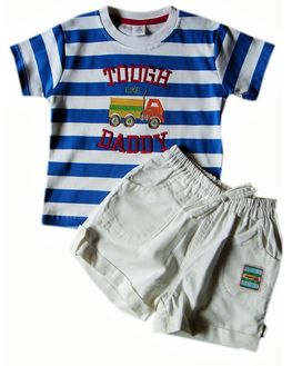 ToffyHouse Baby Boy Bright Blue & White striped tee with White Cord Shorts - Tough like Daddy, 9-12 m