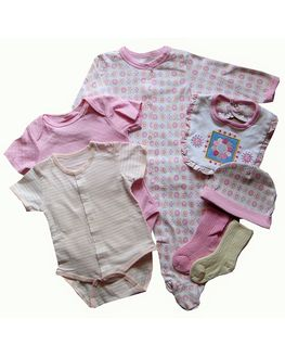 Baby Gift Set - PINK 7 pieces, 6-9 months