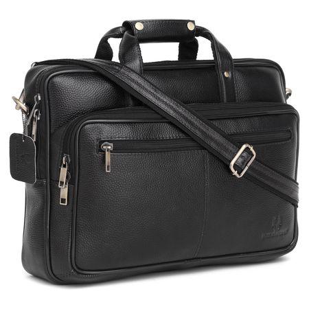 Item Title: WildHorn 100% Genuine Leather Laptop Messenger Bag for Men (Black NDM) Dimension: L- 16inch H- 11.5inch W- 3.5inch