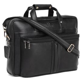 WildHorn 100% Genuine Leather Laptop Messenger Bag for Men (Black NDM) Dimension: L- 16inch H- 11.5inch W- 3.5inch
