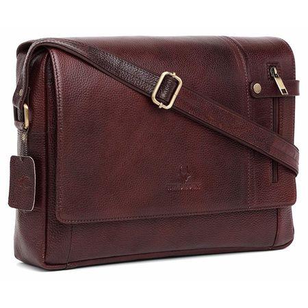 WildHorn 100% Genuine Leather New Laptop Messenger Bag (B. Brown) Dimension: L-14.5 inch W-3.5 inch H-11 inch