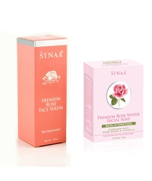Synaa Rose Face Serum & Rose Water Soap - Premium Combo Pack (180g)