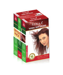 Synaa Herbal Hair Color Burgundy, Henna+ Herbs - No PPD (Pack of 3 - 240g)