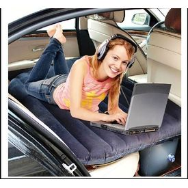 Car Inflatable Bed With Electric Pump & 2 Pillows (Dark Blue)