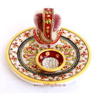 Craftsgallery Marble Puja Thali With Emboss Painting 5