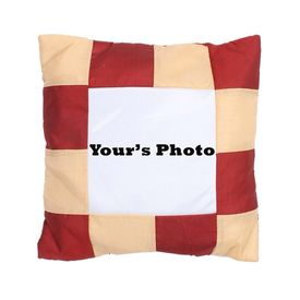 Personalized Square Photo Cushion with pillow 16x16 maroon n beige