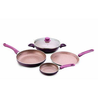 Wonderchef Royal Velvet Induction Base Aluminium Cookware Set, 5-Pieces, Purple/Blue/Aqua/Red/Green