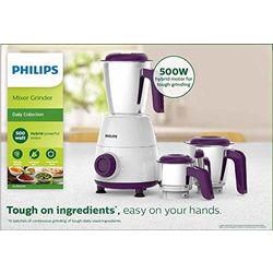 Philips Daily Collection HL7505/00 500-Watt Mixer Grinder with 3 Jars (White/Purple)