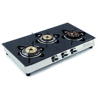 Sunshine Meethi Angeethi Three Burner Toughened Glass Top Gas Stove, lpg, manual