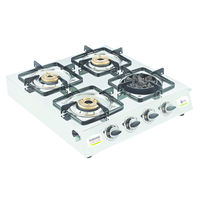 Sunshine Meethi Angeethi Four Burner Stainless Steel Gas Stove, png, auto ignition