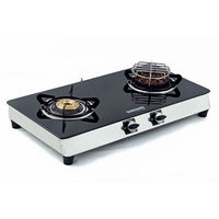 Sunshine Meethi Angeethi Double Burner Toughened Glass Top Gas Stove, lpg, manual