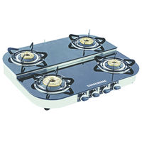 Sunshine Alfa Step SS Four Burner Toughened Glass Gas Stove, lpg, manual