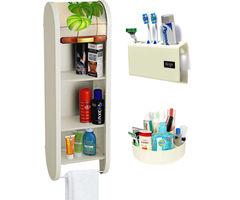 CiplaPlast Combo of Roll Top Floral Bathroom Cabinet, Tooth Brush Holder & Multi-Purpose Container - Ivory
