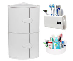 CiplaPlast Combo of D. D. Corner Bathroom Cabinet, Tooth Brush Holder & Multi-Purpose Container - White