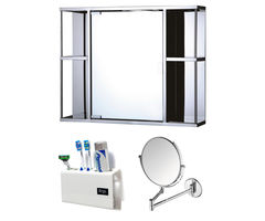 CiplaPlast Combo of Galaxy Stainless Steel Bathroom Cabinet, Shaving Mirror (ARM) & Tooth Brush Holder - White