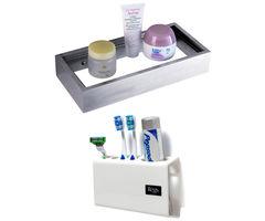 CiplaPlast Combo of Stainless Steel Glass Shelf & Tooth Brush Holder (White)