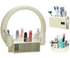 CiplaPlast Combo of Decor Designer Bathroom Mirror Cabinet, Tooth Brush Holder & Multi-Purpose Container - Ivory