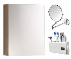 CiplaPlast Combo of Flora Stainless Steel Bathroom Cabinet, Shaving Mirror (ARM) & Tooth Brush Holder - White