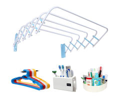 CiplaPlast Combo of Rainbow Cloth Dryer, 12 pcs Hanger, Tooth Brush Holder & Multi-Purpose Container (White)