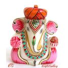 Marble Pagdi Ganesha Gold Painted - 5 Inch