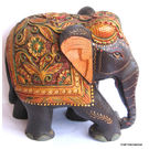 Wood Elephants Carved Painted, 6 inches