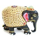 Wooden Elephant statue Zircon Work For Home Decor, 5 inches