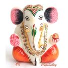 Marble Ganesha With Teeth Gold Painted, 5 inches