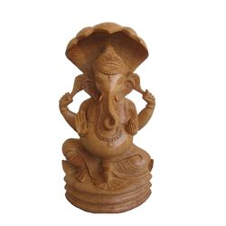 Craftsgallery Wooden Ganesha With Snake Statue for Home Decor, 8 inches