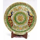 Marble Plate with Emboss Peacock Painting 3, 12 inches