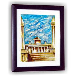 Antique Palace Sky Sketch Gift Wall Decor Art, 8 inch x 7 inch