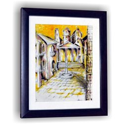 City Abstract Art Town Wall Decor Gift Sketch Painting, 8 x 7 inches