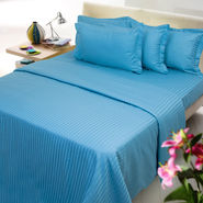 Royal Blue stripe double bed sheet with two pillow covers