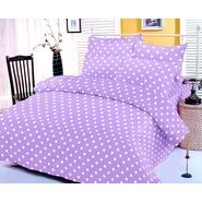 Purple and white polka dotted bedsheet with two pillow covers
