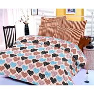 Mud Brown bedsheet with heart prints and two pillow covers