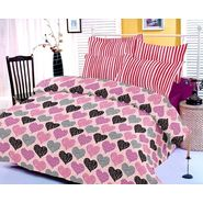 Purple bedsheet with heart prints and two pillow covers