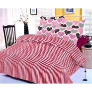 Pink bedsheet with heart prints and two pillow covers