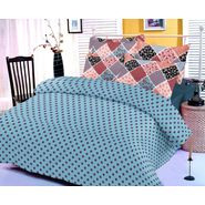 Blue cotton bedsheet with polka dotted print and two pillow covers