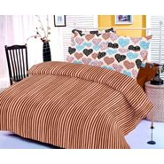 Brown bedsheet with heart prints and two pillow covers