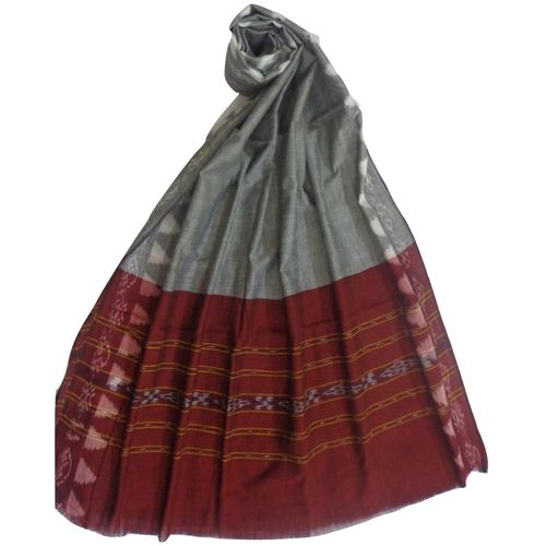 OSS158: Temple design Grey with Maroon cotton Dupatta