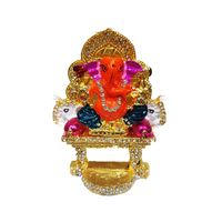 Multicolor Lord Ganesha on Elephant Stage Decorated with Nag, 3 x 2 x 1 inches
