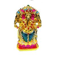 Multicolor Lord Ganesha 5 Face Statue Decorated with nag, 3 x 2 x 1 inches