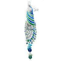 Dazzling Peacock Silver Key Ring-KC001